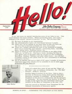 Our September 1958 Newsletter