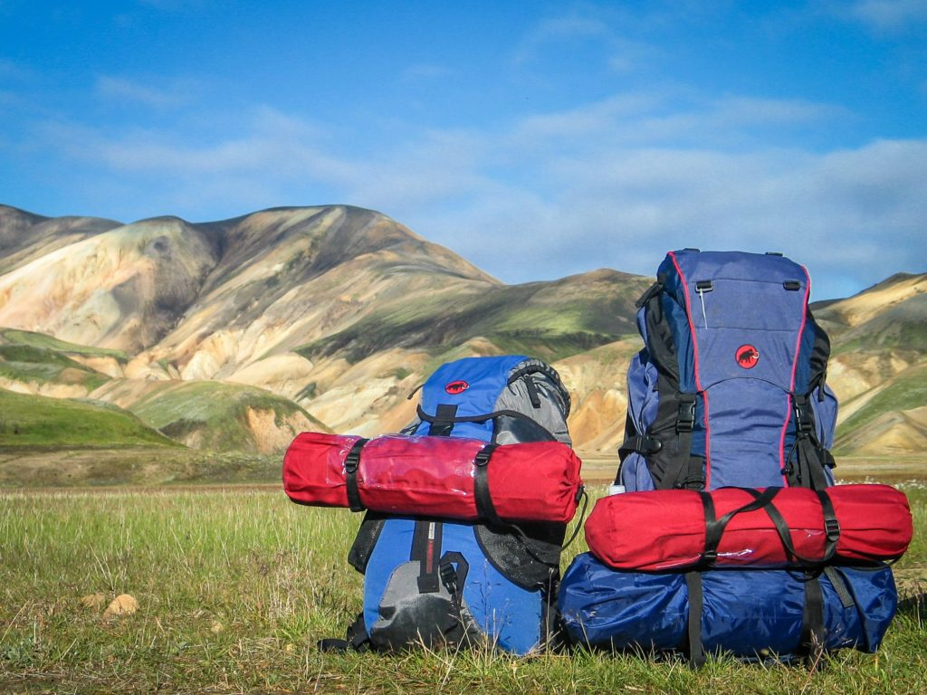 hiking backpacks on grass with mountains background